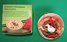Retro Vintage Country Christmas Duck Ornament Decoration Silk Screened in Box