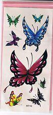 Tattoo Tatouage Temporaire Papillons transfert peau décalcomanie rose bleu