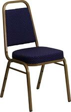 HERCULES Series Trapezoidal Back Stacking Banquet Chair w/Navy Patterned Fabric
