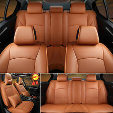 Brown PU Leather Seat Cover For Ford F-150 2010-2016 Front+Rear Full Set Durable