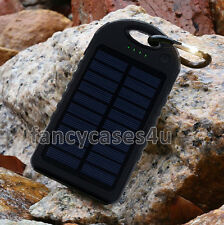 5000mAh Solar Power Bank Dual USB Portable Charger Waterproof for iPhone-Black