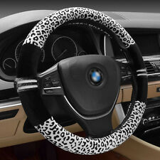 "14"" Black Soft Warm Plush Holder White Leopard Winter Steering Wheel Cover"