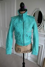 BNWT Superdry Leather Blake Bomber Jacket XS Aquamarine Green -45% Vintage Style
