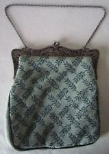 Antique NEEDLE POINT Hand Stitched PURSE HANDBAG Silverplate Scroll Clasp #2768