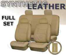 Car Seat Covers Beige Tan PU Synth Leather 4 headrests Steering Wheel Set CS1