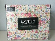 Ralph Lauren Abstract Watercolor Floral 4 PC King Sheet Set Flat Fitted Cases