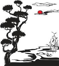 Oriental Sakura tree with sunset vinyl wall decal