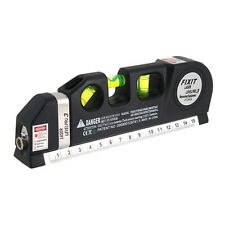 Laser Level Pro 3 Horizontal Vertical Ten Crossing Line 8-Foot Measuring Tape CA