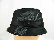 NWT Diesel Men's Black Gray Floral Fedorica Cap Fedora Trilby Hat 2 Medium