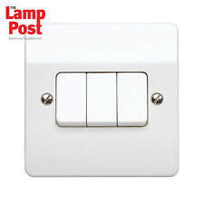 MK K4873 WHI Logic Plus 10a 3 Gang 2 Way Plateswitch Light Switch