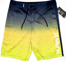 MENS HURLEY FLIGHT CORE NAVY BLUE/YELLOW SWIM BOARD SHORTS SIZE 30