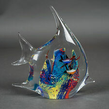 "Art Glass Fish-Shape Aquarium Fish Tank Paperweight Blue 7""x6.75""x2.75"""