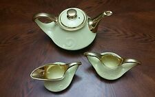 Vintage PEARL CHINA Ceramic TEAPOT Open SUGAR CREAMER 22 Kt Gold YELLOW MARKED