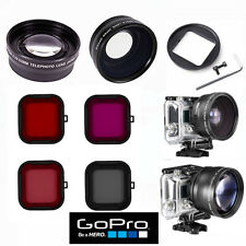FISHEYE LENS + TELEPHOTO ZOOM LENS + 4HD FILTER KIT FOR GOPRO HERO4 HERO3+ BLACK