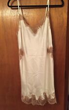 Josie Natori Lolita Silk Chemise Warm White With Tan Lace Sz XL