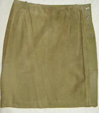 MISSONI Moss Green Leather Skirt-Size 44 -Italy