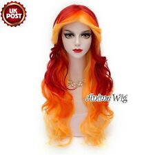 75cm Fashion Red Mixed Bright Orange Wavy Synthetic Anime Lolita Cosplay Wig+Cap