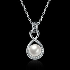 Elegant Lady Pearl Pendant Chain Necklace Jewelry Valentine's Day Gifts for Her