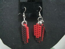 Plastic Canvas Red & Black Earrings ~ Handcrafted ~ Gift Idea
