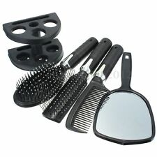 Women Girl Hair Dressing Brush Massage Comb Mirror Holder Set of 5 Makeup Tool