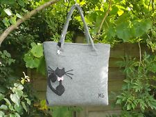 HAND MADE Cat with a Bow Grey Felt Shoulder Handbag Fully Lined & Matching Charm