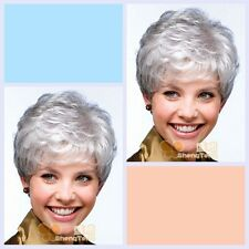 Short Wig Silver  Gray Synthetic Hair Wig For The Elderly  ( free shipping )