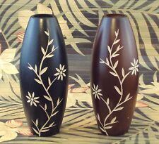 Wooden Vases with Hand-Carved Designs ( Available in 3 Shapes, Black or Brown)