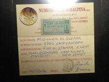 PRIGIONIERI DI GUERRA 1 cent PRISONER WAR CAMP CANTEEN R5 NUMIS SUBALPINA