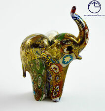 VETRO DI MURANO SCULTURA ANIMALE ELEFANTE. ANIMAL GLASS MURANO.MURRINA E ORO