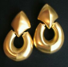 Vintage Givenchy Door Knocker Earrings Huge Chunky Gold Tone Clip on matte Rare!