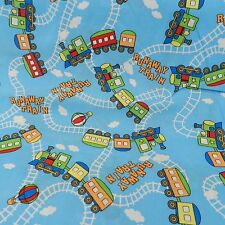 Per FAT QUARTER  blue runaway train  fabric approx 18 x 22 inches