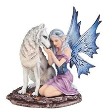 "6.75"" Blue Winged Winter Fairy with White Wolf Pet Decor Fantasy Statue Figure"