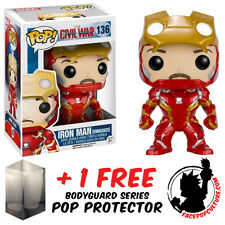 FUNKO POP VINYL MARVEL CAPTAIN AMERICA 3 IRON MAN UNMASKED + FREE POP PROTECTOR