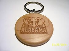 Handmade Wood Keyring (Keychain) laser engraved ~ Alabama-Crimson Tide ~ NEW