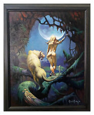 "Ken Kelly ""Moon Girl and Cat"" - Oil Painting - Fantasy Art - Frazetta - VF"