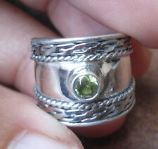 925 Sterling Silver-MAD29-Balinese Handcrafted TOE RING Peridot ADJ Size