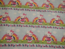 HELLO KITTY Rainbow Stripe FQ Cotton Fabric Craft Quilt Blue Cloud Pink Purple
