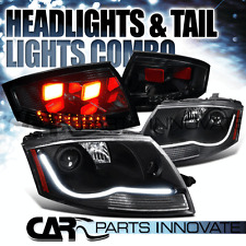 99-06 Audi TT Black LED DRL Strip Projector Headlights+Dark Smoke LED Tail Lamp