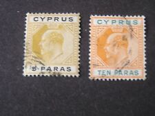 *CYPRUS, SCOTT # 48/49(2).5pa+10pa VALUES 1904-07 KEV11 ISSUE USED
