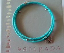 SILPADA Seed Bead with .925 Sterling Silver Peace Charm Wrap Bracelet B1938