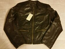 MNG by Mango 100 % Sheep leather jacket  dark brown Sz S  (NWT)