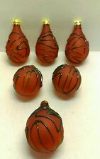 Set of Six Teardrop Opaque Red Christmas Ornaments