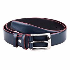 Capo Pelle Navy belt With RED Edge Men's belts Designer golf Genuine leather 34""