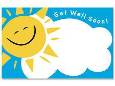 """50ct. """"Get Well Soon"""" Happy Sun Face Blank Florist Enclosure Cards Small Tags"""