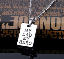 Father`s Day theme my father my hero  Pendant Necklace Long Chain