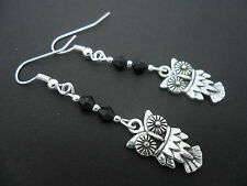 A PAIR OF DANGLY TIBETAN SILVER & BLACK CRYSTAL OWL   EARRINGS. NEW.