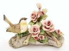 Capodimonte Porcelain - Bird with Roses on Log - Made in Italy - INCREDIBLE