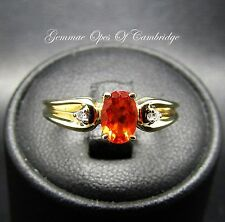 Dainty 9ct Gold Spessartite Garnet and Diamond Ring Size J 1.8g