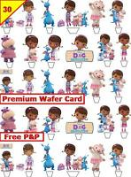 30 x Doc McStuffins Birthday Party Cup Cake Toppers Card Wafer Edible Stand up