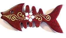 Magnet Aimant poisson Bois Frigo Artisanal Animal wooden Heart fish